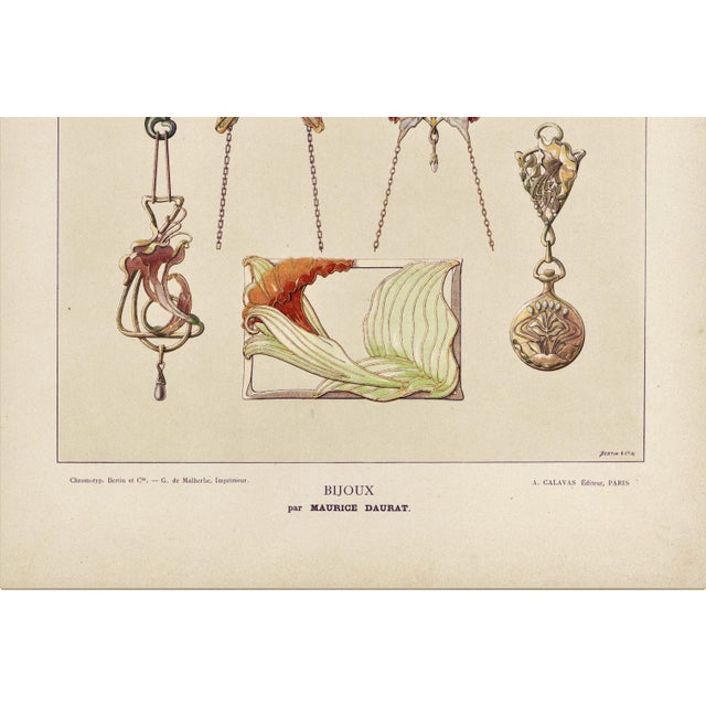 Art Nouveau Jewelry Design Lithograph For Sale - Image 4 of 5