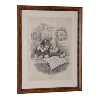 """Santa Claus's Route"""" Illustration by Thomas Nast for Harper's Weekly C.1880s For Sale"""