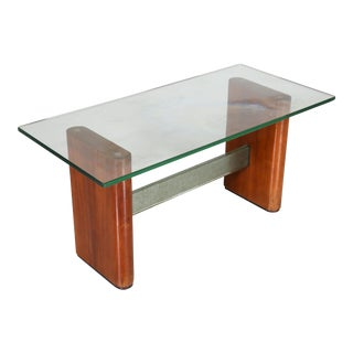 Mid Century Glass and Wood Coffee Table For Sale