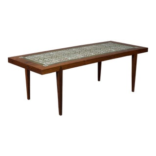 Rosewood and Green Tile Coffee Table