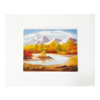 Vintage Oil Painting of Fall Forest and Mountains For Sale