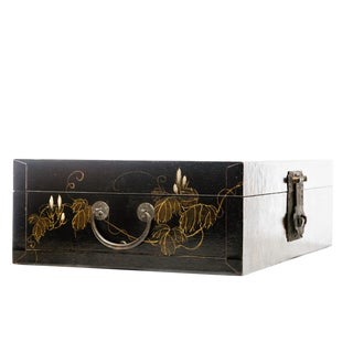Lawrence & Scott Hand-Painted Morning Glories Black Leather Decorative Box For Sale