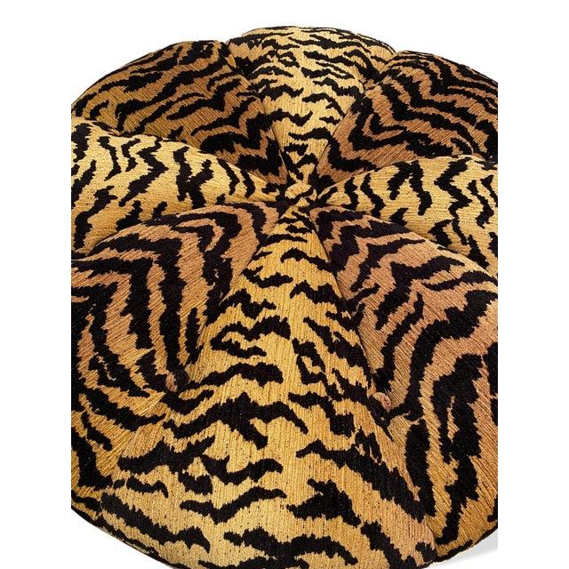 Italian Silky Tiger Woven Heavy Chenille Ottoman For Sale - Image 6 of 10