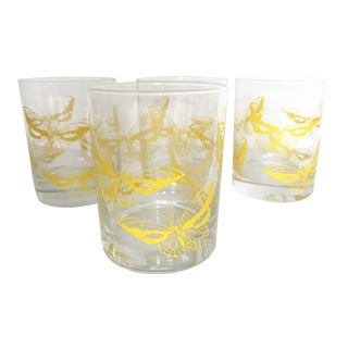 Vintage Yellow Butterfly Rocks Glasses- Set of 4 For Sale