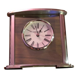 Howard Miller Chrome & Glass Glenmont Table Clock For Sale