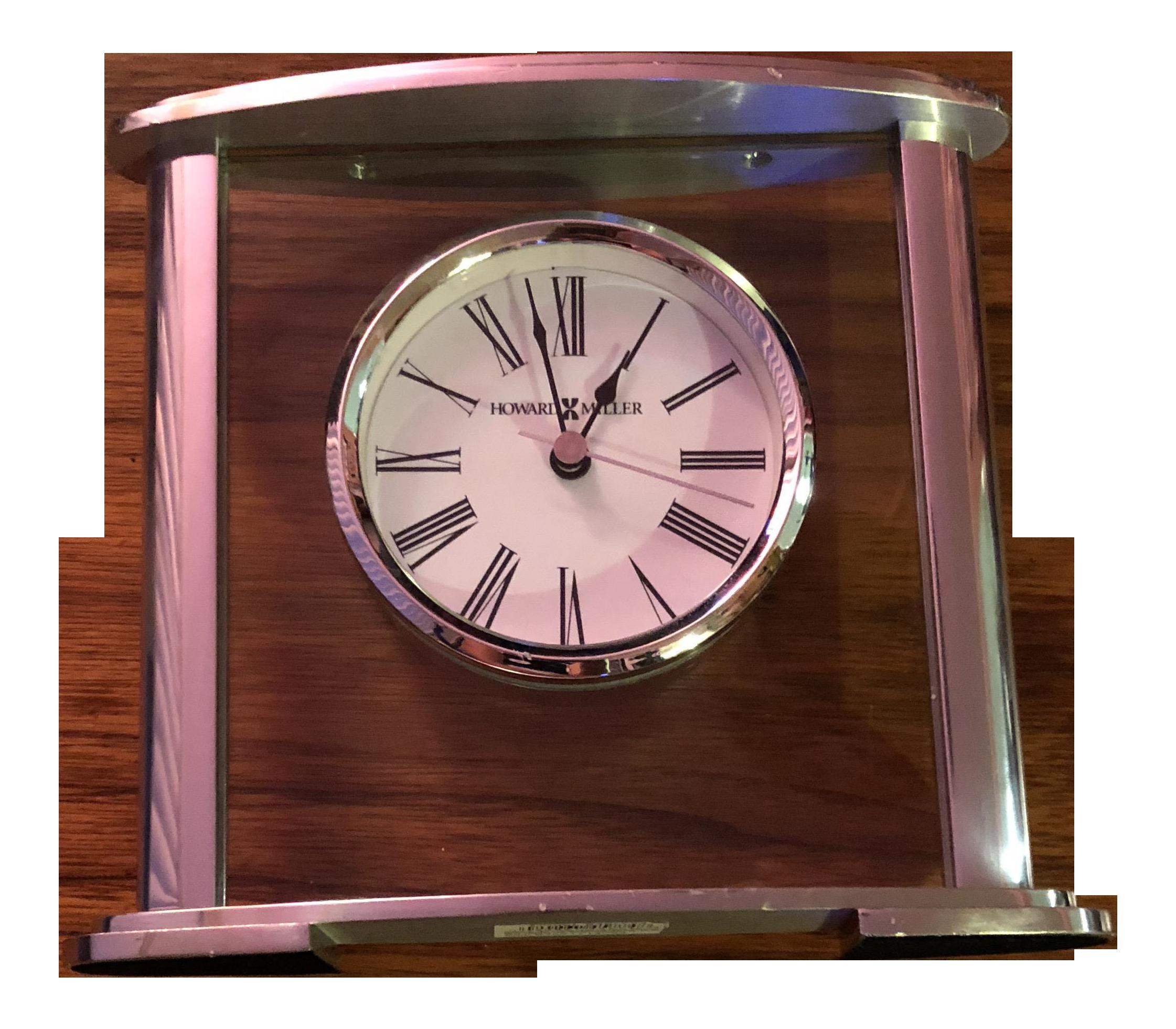 Howard Miller Chrome U0026 Glass Glenmont Table Clock