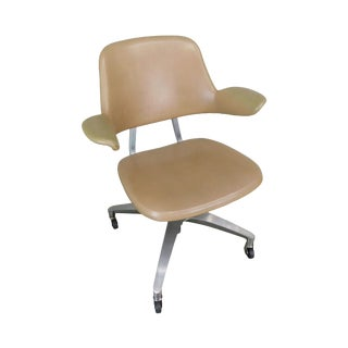 Shaw Waker Mid Century Modern Tan Aluminum Frame Swivel Desk Chair For Sale