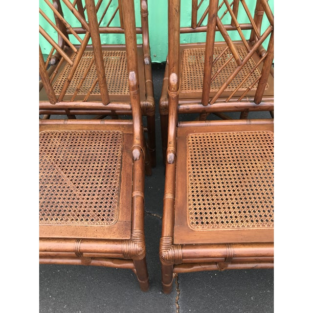 Brown Vintage Brown Jordan Rattan Brighton Pavilion Style Table Four Chairs For Sale - Image 8 of 13