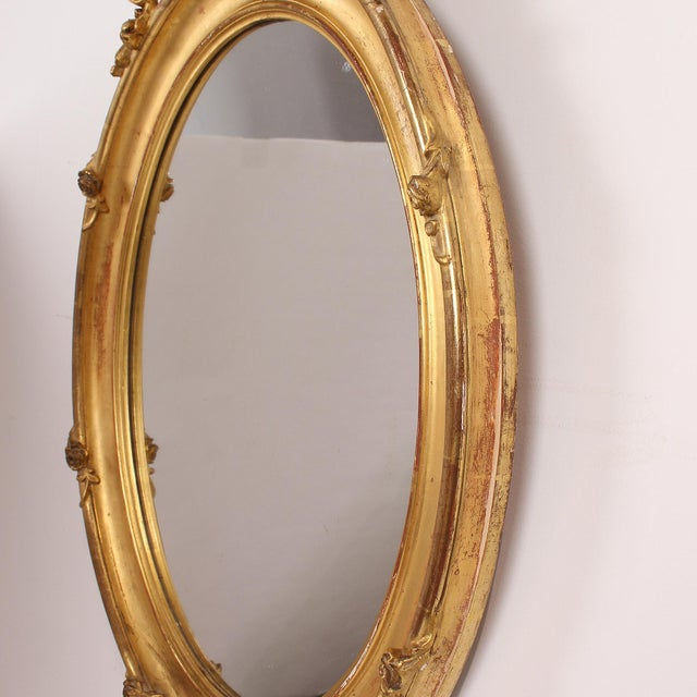 French French Louis XV Style Giltwood Oval Mirror For Sale - Image 3 of 11