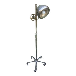 Crome and Antique Headlight Floor Lamp For Sale