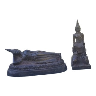 Pair of Antique Bronze Thai Buddhist Statues For Sale