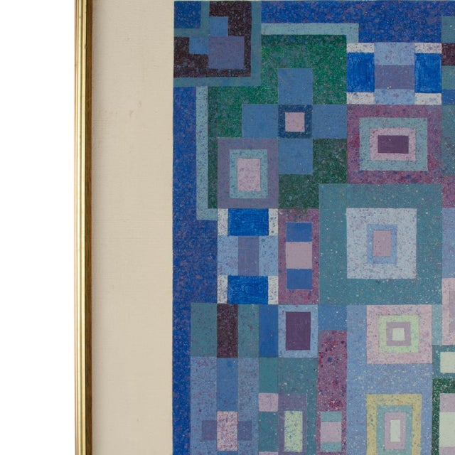 """Mid 20th Century """"Blue Kaleidescope"""" Abstract Oil Painting by Hans Kline, Framed For Sale - Image 4 of 10"""