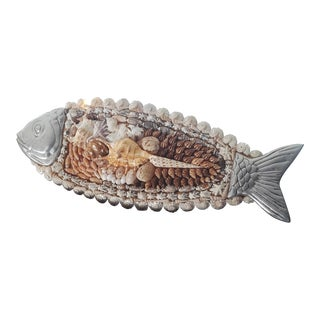 Metal Shell Encrusted and Wood Fish For Sale