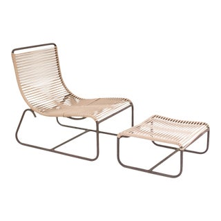 Walter Lamb Bronze Lounge Chair and Ottoman For Sale