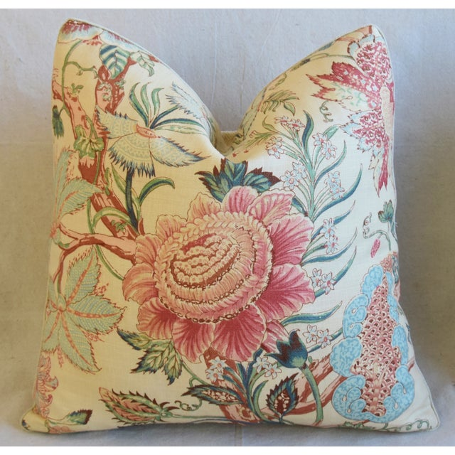 "Early 21st Century Designer Travers Tree of Life Linen Feather/Down Pillows 21"" Square - Pair For Sale - Image 5 of 13"