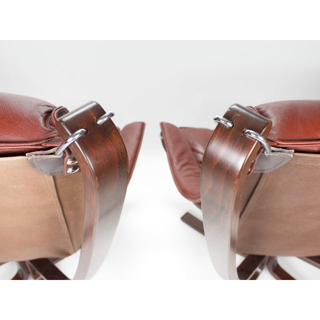 Red 1970s Sigurd Resell for Vatne Møbler Falcon Lounge Chairs- A Pair For Sale - Image 8 of 13