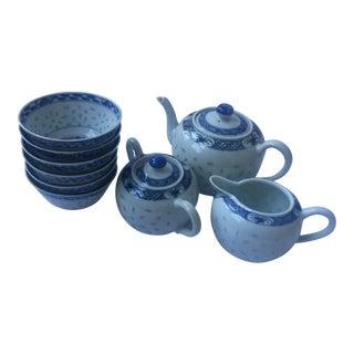 Japanese Porcelain Tea Set & Bowls - Set of 9