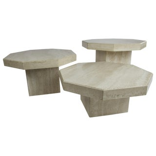 Octagon Travertine Nesting Tables, by Up & Up For Sale
