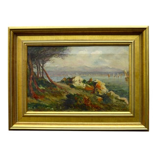 German Lakeside Landscape Painting For Sale