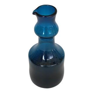 1960s Scandinavian Modern Bertil Vallien Blue Blown Glass Pitcher For Sale