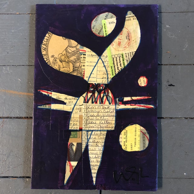 Original Contemporary Outsider Artist Wayne Cunningham Monster Painting/Collage For Sale - Image 4 of 4