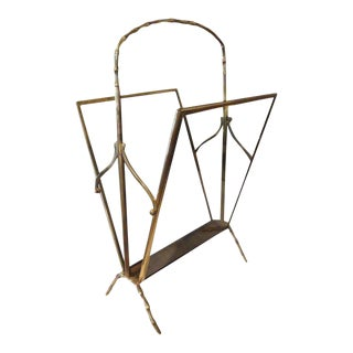 1940's Vintage Italian Gio Ponti Inspired Brass and Smoked Glass Magazine Rack For Sale