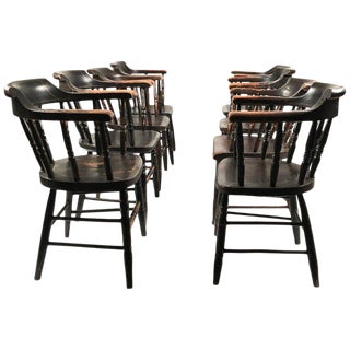 Set of 8 Matched Captain's Dining Chairs For Sale