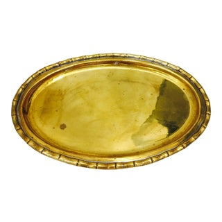 Vintage Brass Faux Bamboo Tray For Sale