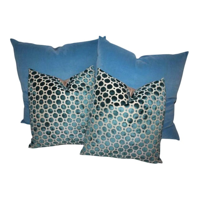 Amazing Vintage Patterned Velvet Pillows For Sale
