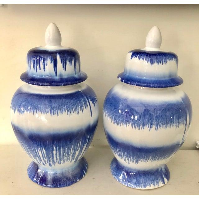 Asian Blue & White Stroke Ginger Jars For Sale - Image 3 of 6