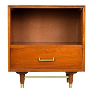 Mid-Century Walnut & Brass Nightstand or Side Table by Furnette