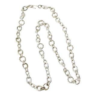 Long Sterling Silver MultiLink Necklace For Sale