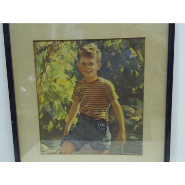 "Americana Vintage Framed Print - ""Boy Outdoors"", 1940 For Sale - Image 3 of 4"