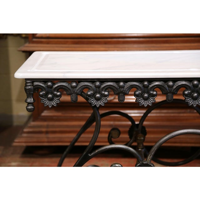 Polished Iron Butcher Pastry Table With Marble Top and Brass Finials From France For Sale - Image 4 of 11
