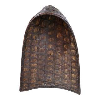 Antique Philippine Rice Basket & Rain Hood For Sale
