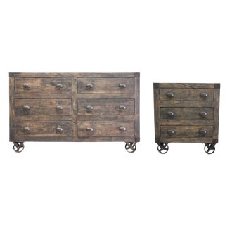 Rustic Wyatt Wooden Chest of Drawers - a Pair For Sale