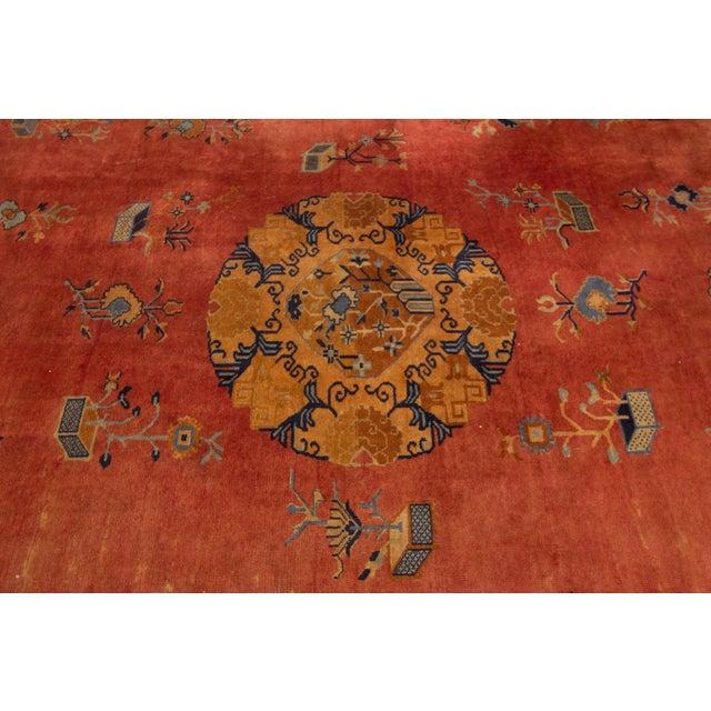 "Orange Apadana-Antique Indo Chinese Rug, 12'0"" X 13'6"" For Sale - Image 8 of 11"