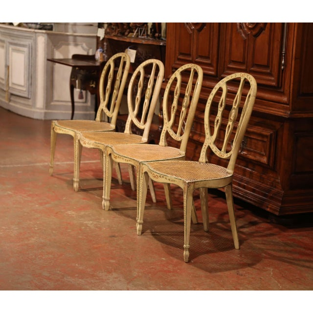 White Mid-19th Century Vintage Hepplewhite Style Painted Chairs- Set of 4 For Sale - Image 8 of 13