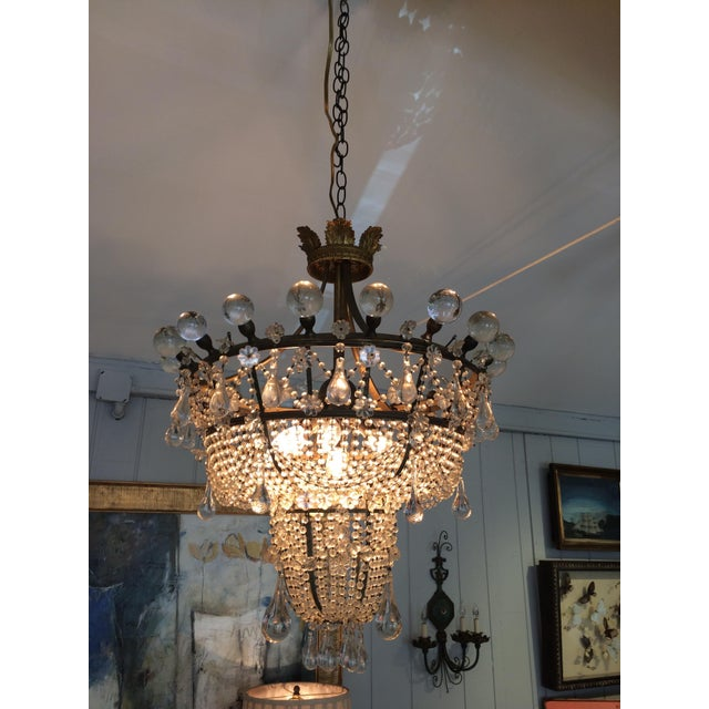 French 3 Tier Crystal Chandelier For Sale - Image 4 of 13