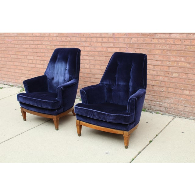 1960s Art Deco Blue Mohair Velvet Armchairs - a Pair For Sale In Chicago - Image 6 of 13