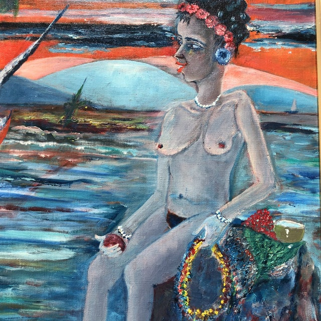 Expressionism Original Vintage Female Nude in Seascape Painting Signed For Sale - Image 3 of 5