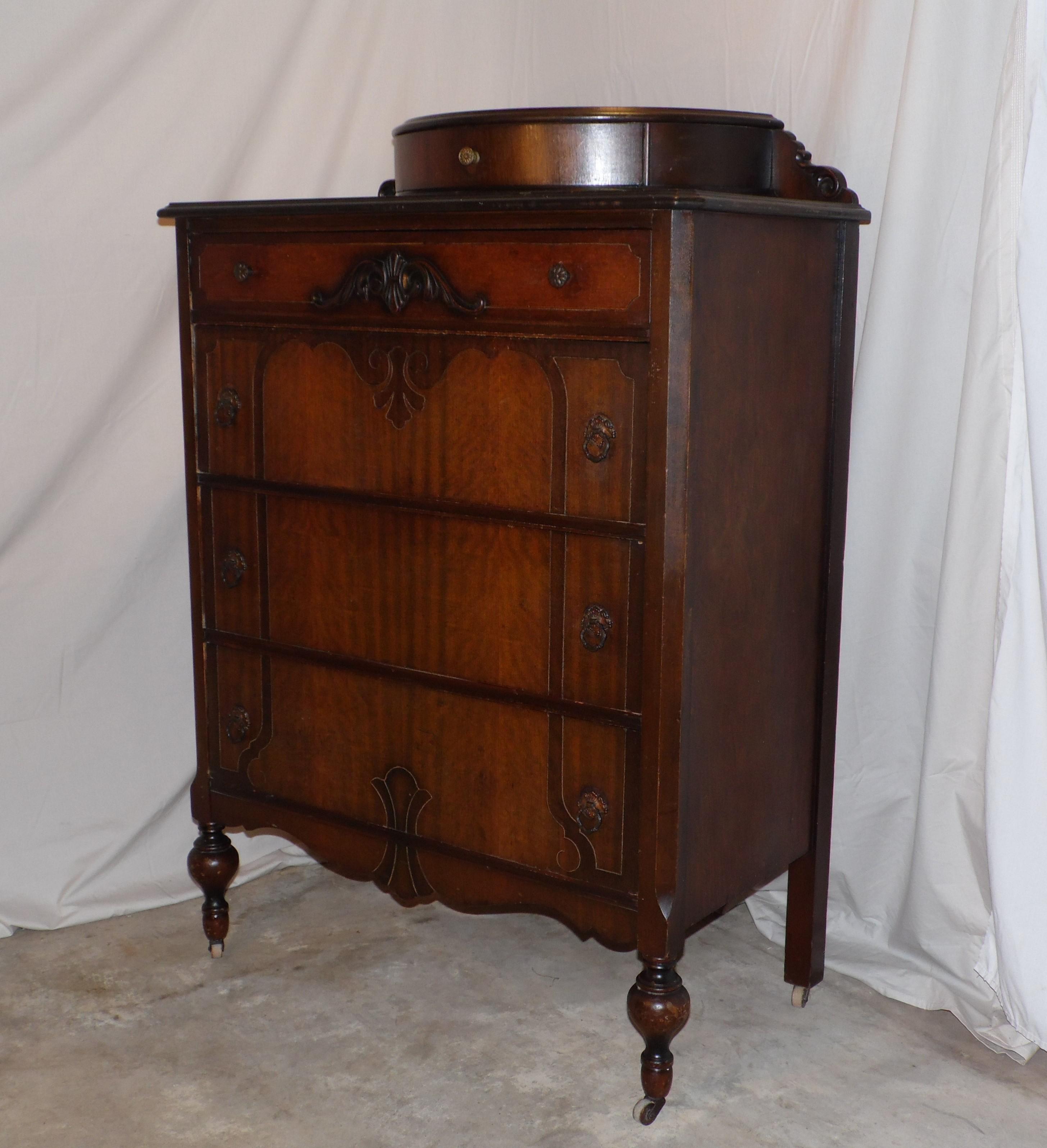 1920s antique art deco walnut dresser bureau chest of drawers demilune top image 12 of