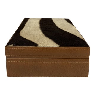 Late 20th Century Zebra Covered Leather Box For Sale