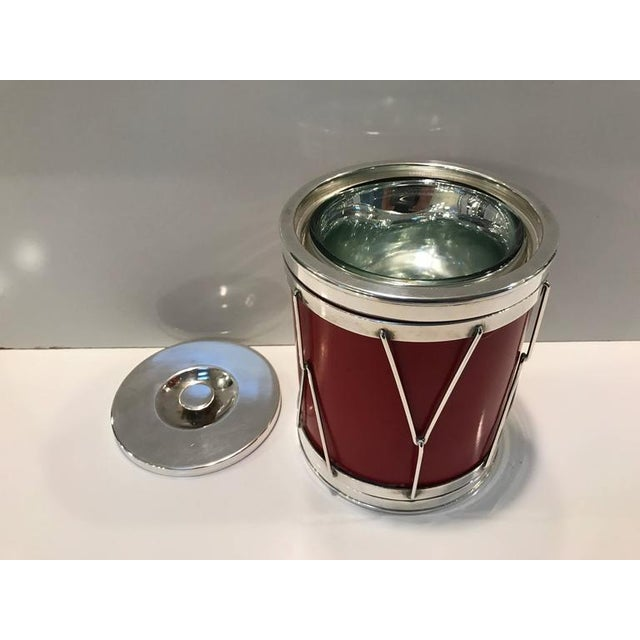 Mid 20th Century Italian Modern Silver and Leather Ice Bucket For Sale - Image 5 of 8