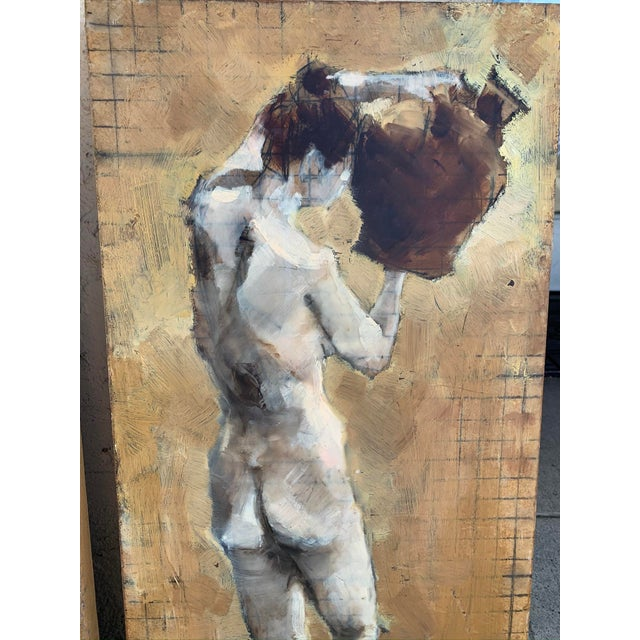 Original mixed media nude study, mixed-media painting on three separate plywood boards. Can be arranged as a triptych or...