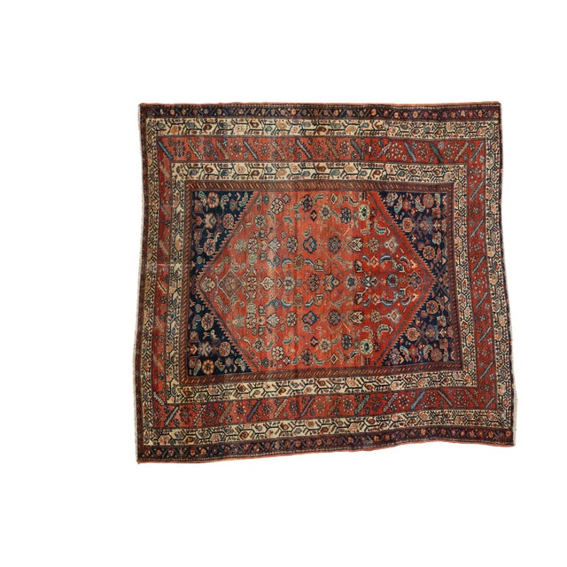 "Antique Fine Malayer Square Rug - 5'8"" x 5'8"" - Image 1 of 10"