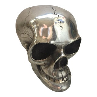 Vintage Silver Metal Skull For Sale