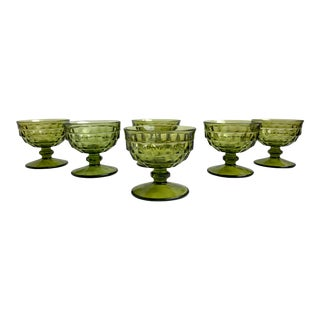 Colony Whitehall Green Champagne/Sherbet Coupe Glasses- Set of 6 For Sale