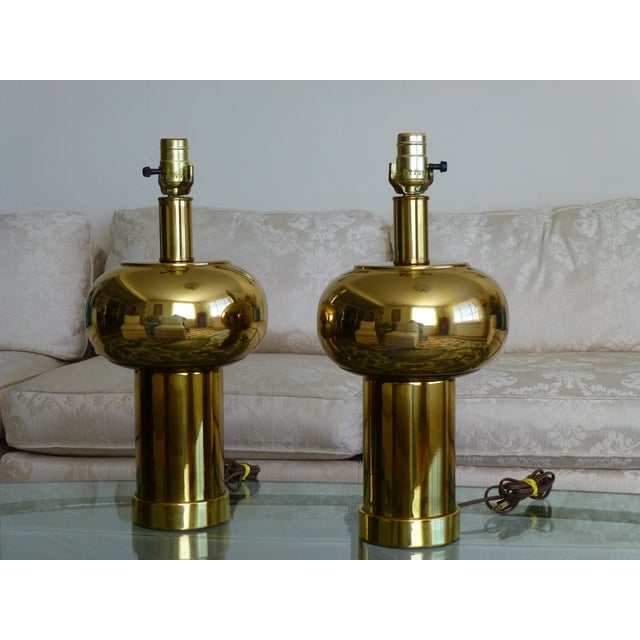 Mid-Century Modernist & Sculptural Brass Ball Lamps - a Pair For Sale - Image 10 of 10