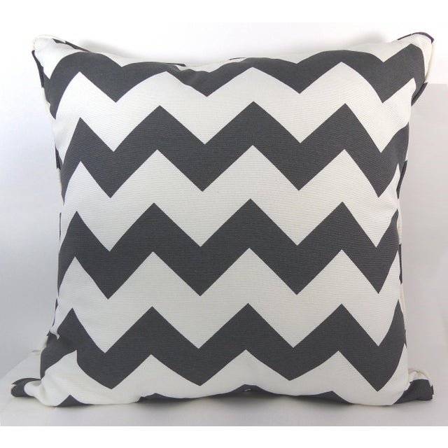 Dark Gray/Off-White Chevron Pattern Custom Pillow - Image 2 of 6